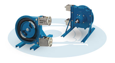 Seal-less, self priming hose pumps. Reversible and capable of pumping abrasives/solids
