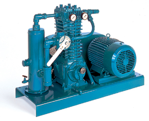Single-stage oil-less reciprocating compressors. Durable ductile iron construction with self-adjusting piston rod seals.